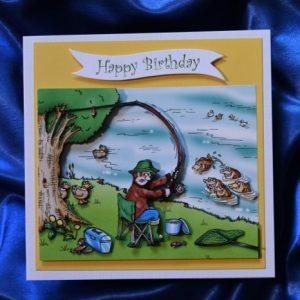 Fishing happy birthday card