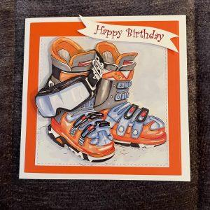 3D handmade birthday cards | ski-ing | leisure | hobbies