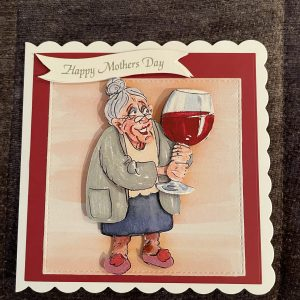 3D handmade mother's day card | wine | wrinklies