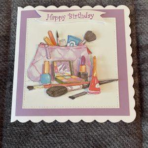 3D handmade birthday card   make-up bag   fashion   beauty   girls  