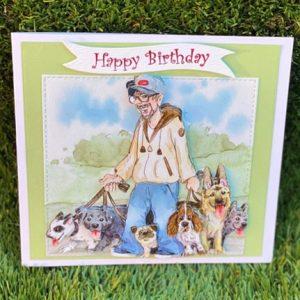 Male Dog walker themed birthday card