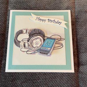 3 D handmade card   Birthday   Teenager   Music   headphones