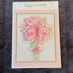 3d   handmade   birthday card   pink   roses   flowers