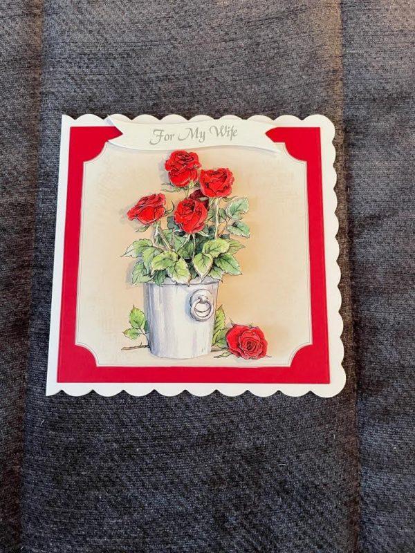 3d | handmade | birthday card | red roses | flowers