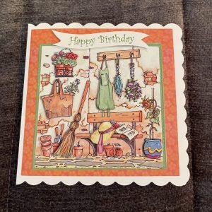 Gardening Corner themed birthday card | 3d handmade birthday card