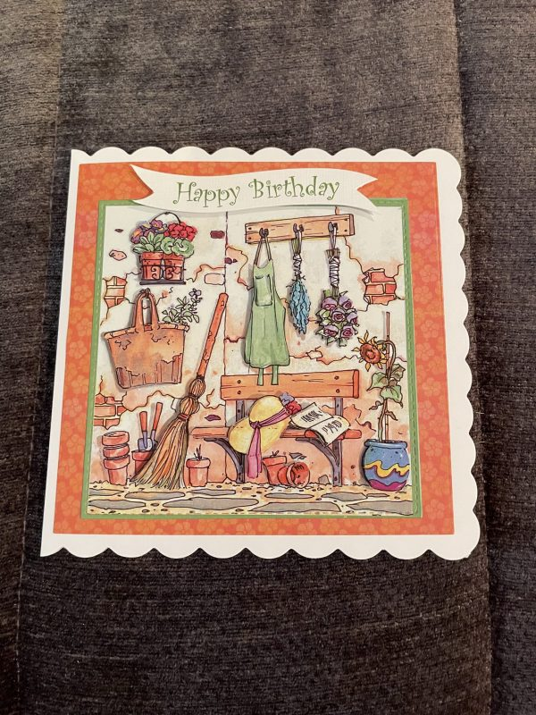 Gardening Corner themed birthday card   3d handmade birthday card