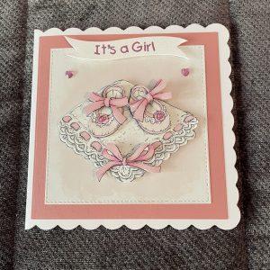 3d handmade baby girl card