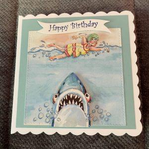 Swimming with Shark themed birthday card | 3d handmade birthday card