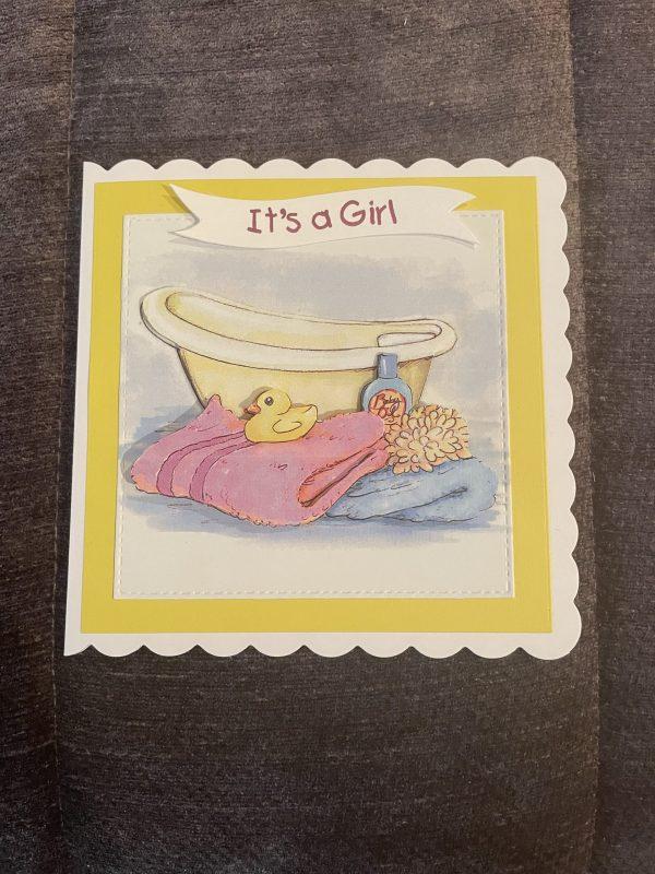 New baby Girl 3D handmade card